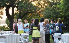 Women chatting at an event